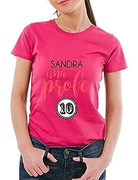 Calledelregalo Regalo para profesoras Personalizable: Camiseta 'Profe 10' Personalizada con su Nombre (Rosa)