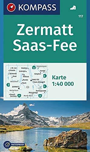 Carta escursionistica n. 117. Zermatt, Saas Fee 1:40.000: Wandelkaart 1:40 000