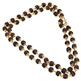 Charms Premium Rudraksh Mala Shiva God Micro Gold Plated Copper Chain 24 Inches For Unisex