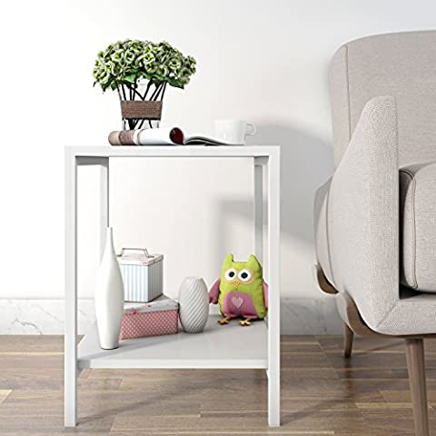 Lifewit 2-tier Modern Square Side / End Table / Night Stand / Coffee Table, White (2-tier)