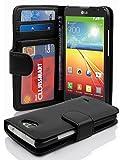 Cadorabo Hülle für LG L70 Hülle in Handyhülle mit 3 Kartenfächern Case Cover Schutzhülle Etui Tasche Book Klapp Style Oxid Schwarz
