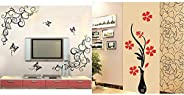Decals Design 'Lovely Butterflies' Wall Sticker (PVC Vinyl, 90 cm x 30 cm, Black) & 'Flowers w