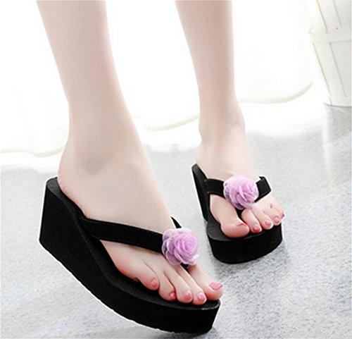pengweiPlantes plus ¨¦paisses sandales de plage pantoufles avec flip flops fleurs de mode dames pantoufles fra?ches 2