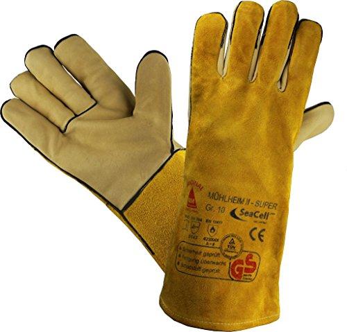 huhe Sicherheitshandschuhe für Schweisser MÜHLHEIM-II-SUPER gelb - Größe: 9 (Leder-arbeits-handschuhe Größe Klein)