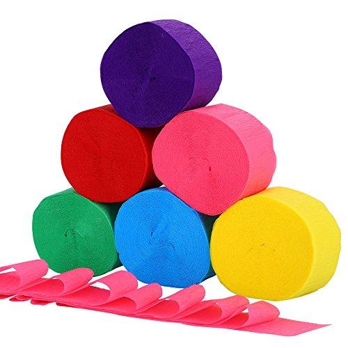Krepppapier Papier Rolle Partydekoration Verschiedene Farben,4.5cm X 25m,6 Rollen (6 Rollen)