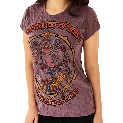 en Hindu Ganesh 'Boho Elefant & Om Symbol' Yoga Style T-Shirt Medium ()