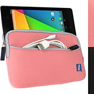 iGadgitz Pink Neoprene Sleeve Case Cover with Front Pocket for New Google Nexus 7 FHD Android Tablet 16GB 32GB 4G LTE 2013 Model 2nd Gen Generation (released Aug 2013)