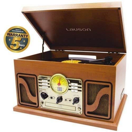Lauson Giradischi Vintage | Bluetooth | Usb | Altoparlante Stereo Incorporato | Lettore Vinile CD | Radio FM | CL606 (Legno)
