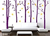 UberLyfe Pigmented Paint-Like Arty Purple Trees with Yellow Birds Wall Sticker (Wall Covering Area: 180cm x 260cm) - WS-000833-PV