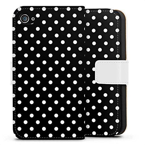 Apple iPhone 7 Silikon Hülle Case Schutzhülle Punkte Schwarz-Weiß Retro Sideflip Tasche weiß