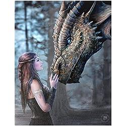 Once Upon A Time - tamaño grande (50 x 70 cm) - - Dragon gótico de Ángel Hada con cuadro en lienzo decorativo con texto en inglés / - por el artista Anne Stokes