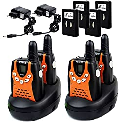 Retevis RT-602 Walkie-talkies Niños 0.5W 8 Canales UHF PMR 446 MHz 10 Tonos de Llamada CTCSS / DCS Linterna Incorporada y Pantalla LCD Cargador Europeo(Negro y Naranja, 2 Pares)