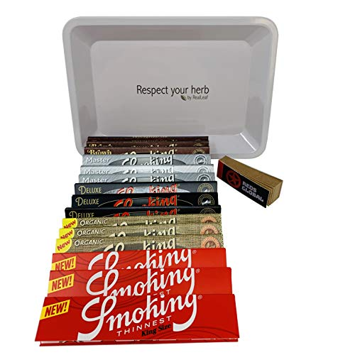 Reds Brand Exclusive Smoking King Size Slim Rolling Papers with Real Leaf Tray (Rolling Papers Smoking)