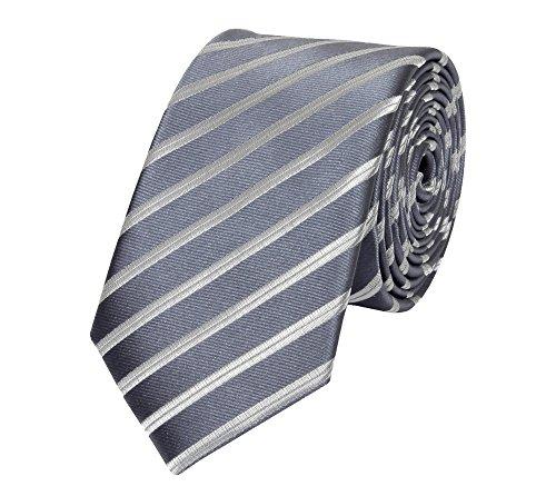 Schmale 6-cm Slim Krawatte von Fabio Farini in verschiedenen Farben, geeignet für Arbeit, Hochzeit oder Ball, Grau mit weißen Streifen (Weiß Grau Streifen Seide)