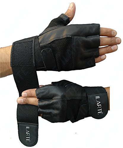 ILARTE Leather Gym Gloves with Wrist Support for Man, Women, Girls (Black)