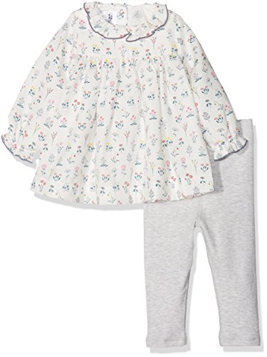 Petit Bateau Robe ML + Legging Robe Bébé Fille Blanc (Lait/Multico) 0-3 Mois (Taille Fabricant: 1M 1 Mois) Lot de