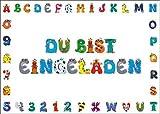 10 Einladungskarten zur Einschulung oder Kindergeburtstag / Geburtstagseinladungen Kinder Mädchen Jungen, 10 Stück im Set