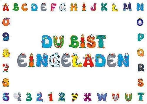 10 Einladungskarten mit Monster-Buchstaben/als Einladungen zur Einschulung/Kindergeburtstag/Halloween-Party