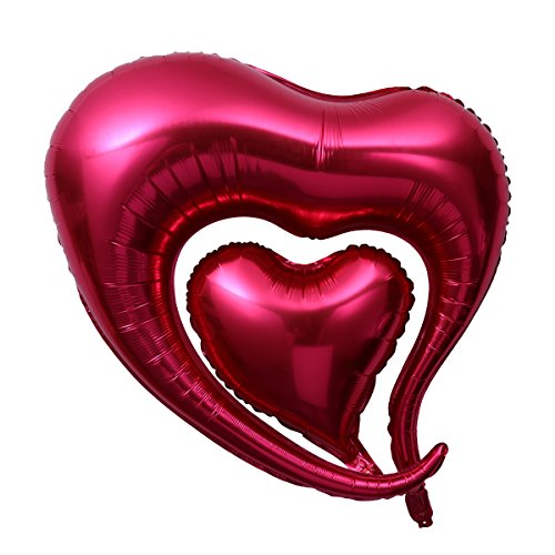 Ballon Folienballons für Valentinstag Hochzeit Geburtstag Party Dekoration 2pcs (Rot) (Rot Folienballons)