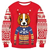 Loveternal Maglieria Natale Famiglia Unisex Cute Dog Christmas Jumper Elf novità Manica Lunga Pullover Felpa L
