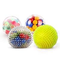 Fansteck Bola Antiestrés [4 Pack], Stress Ball de Diferentes diseño, Pelotas Antiestres, Squishy Ball Alivia estrés para niños y Adultos, fortalece Manos y Dedos. de Fansteck