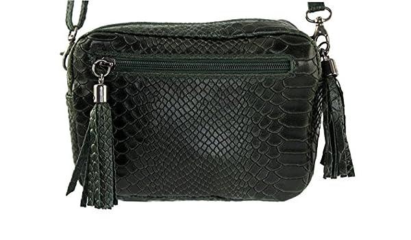 88bf6b9bc75d6 CHLOLY - Petit sac cuir femme Pio Italie - Vert Foncé: Amazon.fr:  Chaussures et Sacs