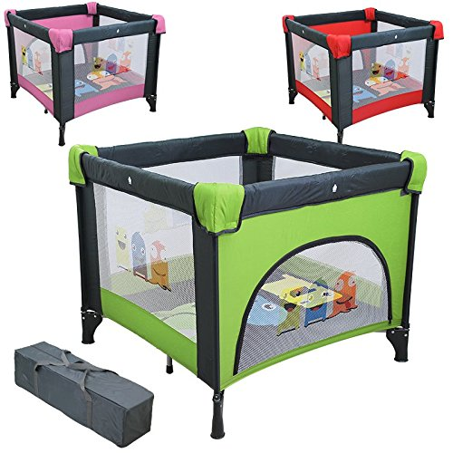 Monsieur Bébé ® Parque bebé plegable, corralito 90cm x 90cm con colchón + Bolsa de transporte   Tres colores   Norma NF EN12227