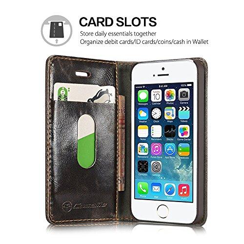 Étui à rabat en cuir rétro pour iPhone 5SE/iPhone SE Blanc