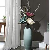 ZCM Künstliche Blumen, Einfache Dekorative Keramik Bodenvase Wohnzimmer Blau Hohe Getrocknete Blume Blumengesteck (Farbe : C, größe : 80cm)