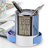 Longsw - Reloj despertador digital con pantalla LCD y reglas de malla, soporte para lapiceros, calendario de tiempo, color azul