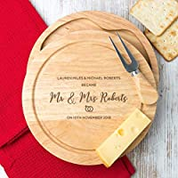 Personalised Wedding / Anniversary Gift - Wooden Cheese Board and Knife Gift Set