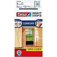 tesa Insect Stop COMFORT Fliegengitter für Türen - Insektenschutz Tür mit Klettband - Fliegen Netz ohne Bohren, anthrazit (2 x 65 cm)120 cm x 220 cm
