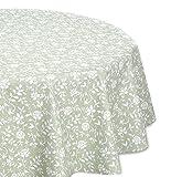 Wachstuchtischdecke geprägt abwischbar OVAL RUND ECKIG, Wachstuch Garten Tischdecke, Größe und Motiv wählbar (Rund 140 cm, Uni-Flower grün/weiß)