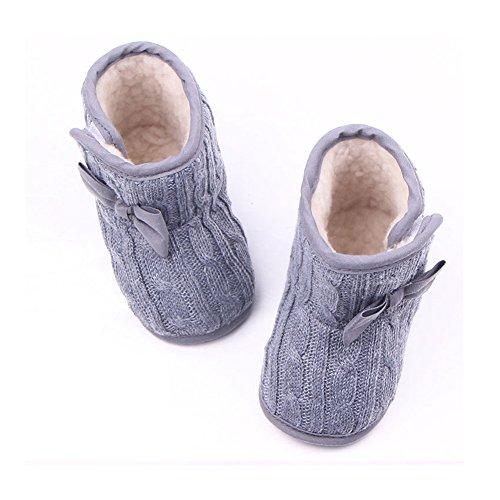 Grau Schuhe für 3-6 Monate Baby Bowknot-weich Sohle Winter warme Schuhe Boots Stiefel Grau