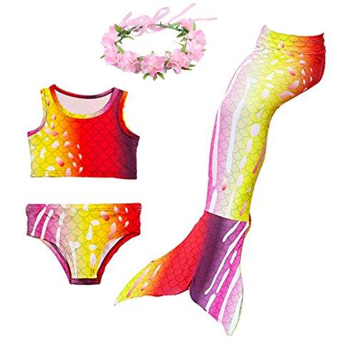Superstar88 Mädchen Cosplay Kostüm Badebekleidung Meerjungfrau Shell Badeanzug 3pcs Bikini Sets mit einer Flosse und einer Kränze Tolle Geschenksidee ! (150, Brilliante Rot) (Cosplay Set)