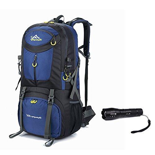 Rucksack Wasserdicht Faltbare leichte Wandern Packbar (Geschenk-1x Multifunktions-Taschenlampe) Blau