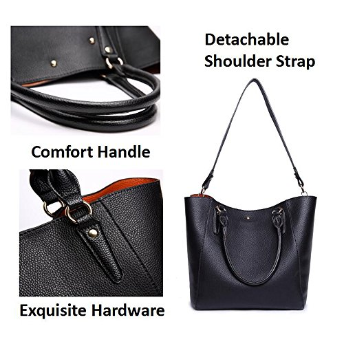 Tibes Fashion Waterproof Shoulder Bag Synthetic Leather Handbag Black 1