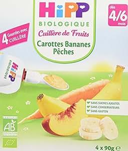 Hipp Biologique Cuillère de Fruits 2 Saveurs Carottes Bananes Pêches/Pommes Bananes Fraises dès 4/6 mois - 16 gourdes de 90 g