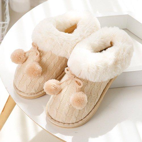 DogHaccd pantofole,In autunno e inverno a maglia jacquard, piscina termale pacchetto con il fiore hit-colore coppie di maglieria home pantofole M giallo3