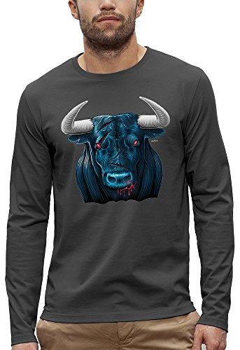 3D animierte Langarm T-shirt TAURUS BLUE Augmented Reality - PIXEL EVOLUTION - Mann Grau