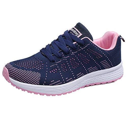 Decai Donna Scarpe da Ginnastica Corsa Sportive Fitness Running Sneakers Lacci Traspirante Mesh Allacciare Atletica Camminare Basse Interior Casual all'Aperto Scarpe in Esecuzione Blu 39 EU