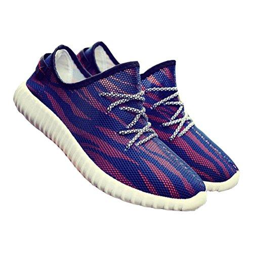 Scarpa da tennis Mesh Fashion Mesh Scarpe da Sport Lace-up Respirabile Estivo blue red