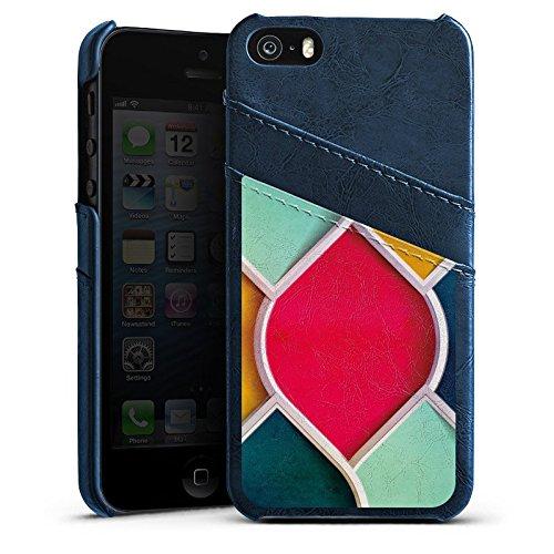 Apple iPhone 5 Housse étui coque protection Couleurs Motif Motif Étui en cuir bleu marine