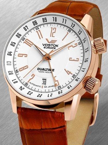 Vostok Europe 5609060 - Reloj para hombres, correa de cuero color marrón