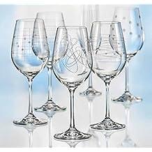 Kristall Bohemia Gläser -- Elements -- 6 er Set-- mit verschieden Ornamenten (Weinglas 6 x 450 ml)