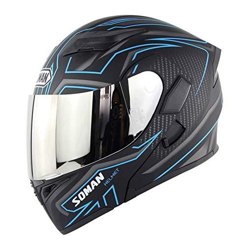 L&WB Windsicheres Motorrad-Helm Doppel-Objektiv Unwehle-Helm Fahrt Vier Seasons Sicherheitslokomotive Helm mit K5-Farbfolie,H,XL(60~62) cm