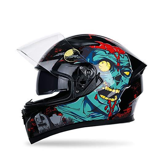 Casco modulare modulare per Motociclisti Flip up Dual Visor Sun Shield, Casco da Motociclista Sportivo Dirt Bike Quattro Stagioni,Ridicule,M