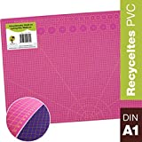 OfficeTree® Schneidematte -90x60 cm (A1) pink/lila - Cutting Mat mit beidseitigen Rastern und Markierungen für professionelle Schnitte - PVC 5-lagig recycelbar - selbstheilende Oberfläche