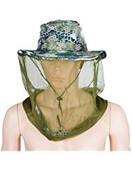 Lorcoo Mesh camuflaje Sombrero de Pesca, Apicultura Apicultor Gorro para Pesca Camping Senderismo (verde oscuro)