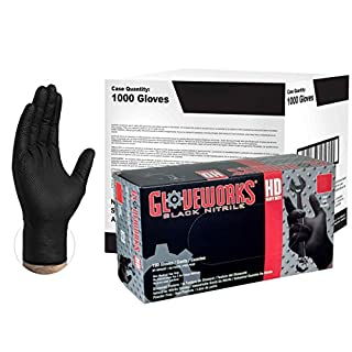 AMMEX - GWBL46104E0 - Case of 1000 - Large, 6 mil, Heavy Duty Black Disposable Nitrile Gloves - GLOVEWORKS HD - Industrial Grade, Powder Free, Latex Free